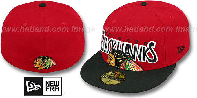 Blackhawks 'PROFILIN' Red-Black Fitted Hat by New Era : pictured without stickers that these products are shipped with
