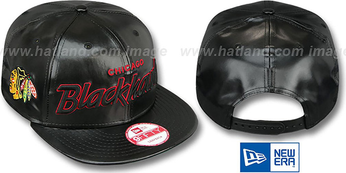 Blackhawks 'REDUX SNAPBACK' Black Hat by New Era : pictured without stickers that these products are shipped with