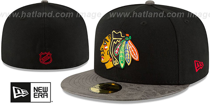 Blackhawks 'RUSTIC-VIZE' Black-Grey Fitted Hat by New Era : pictured without stickers that these products are shipped with
