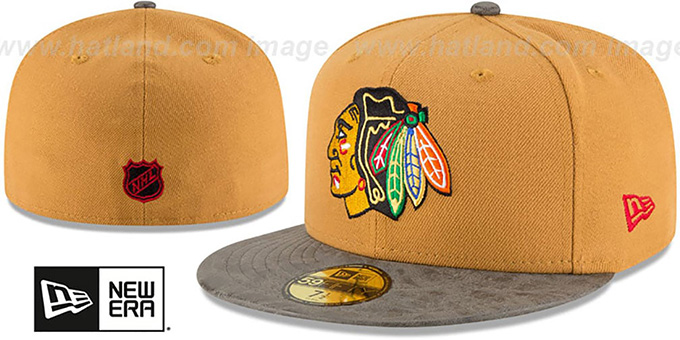 Blackhawks 'RUSTIC-VIZE' Wheat-Grey Fitted Hat by New Era : pictured without stickers that these products are shipped with
