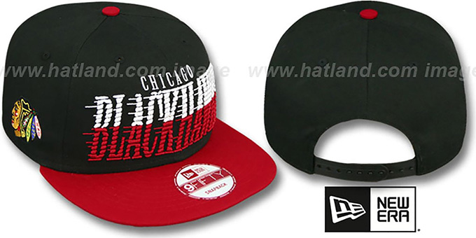 Blackhawks 'SAILTIP SNAPBACK' Black-Red Hat by New Era : pictured without stickers that these products are shipped with