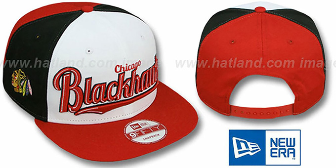 Blackhawks 'SCRIPTWHEEL SNAPBACK' White-Black-Red Hat by New Era : pictured without stickers that these products are shipped with