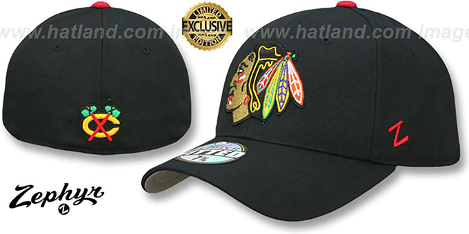 Chicago Blackhawks SHOOTOUT Black Fitted Hat by Zephyr 7a24aa1fcc2