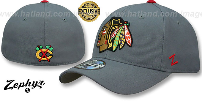 Blackhawks 'SHOOTOUT' Grey Fitted Hat by Zephyr : pictured without stickers that these products are shipped with