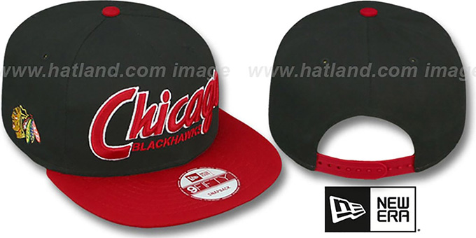 Blackhawks 'SNAP-IT-BACK SNAPBACK' Black-Red Hat by New Era : pictured without stickers that these products are shipped with