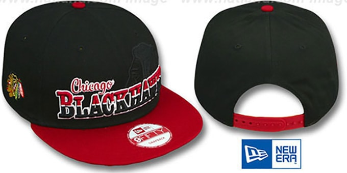 Blackhawks 'SPLIT-BLOCK SNAPBACK' Black-Red Hat by New Era : pictured without stickers that these products are shipped with