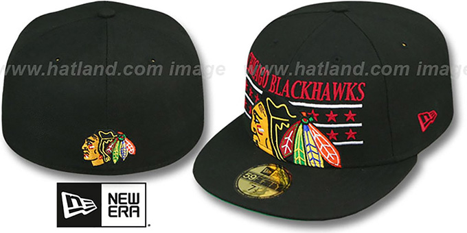 Blackhawks 'STAR STUDDED' Black Fitted Hat by New Era : pictured without stickers that these products are shipped with