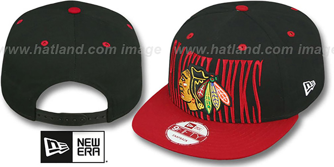Blackhawks 'STEP-ABOVE SNAPBACK' Black-Red Hat by New Era : pictured without stickers that these products are shipped with