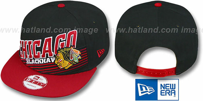 Blackhawks 'STILL ANGLIN SNAPBACK' Black-Red Hat by New Era : pictured without stickers that these products are shipped with