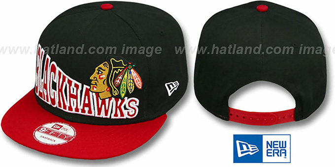 Blackhawks 'STOKED SNAPBACK' Black-Red Hat by New Era : pictured without stickers that these products are shipped with