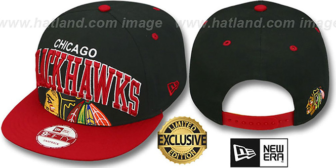 Blackhawks 'SUPER-LOGO ARCH SNAPBACK' Black-Red Hat by New Era : pictured without stickers that these products are shipped with