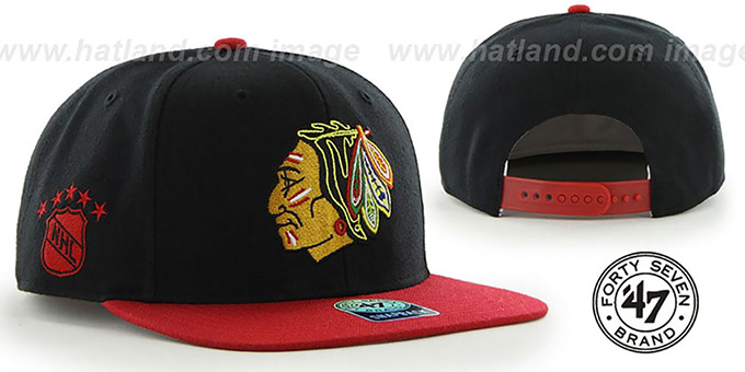 Blackhawks 'SURE-SHOT SNAPBACK' Black-Red Hat by Twins 47 Brand : pictured without stickers that these products are shipped with