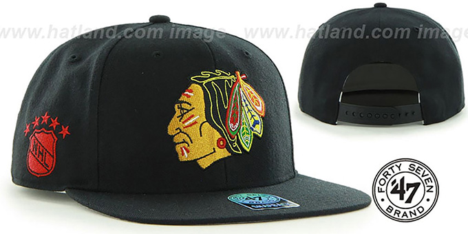 Blackhawks 'SURE-SHOT SNAPBACK' Black Hat by Twins 47 Brand : pictured without stickers that these products are shipped with