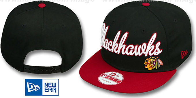 Blackhawks 'SWASH-SCRIPT SNAPBACK' Black-Red Hat by New Era : pictured without stickers that these products are shipped with