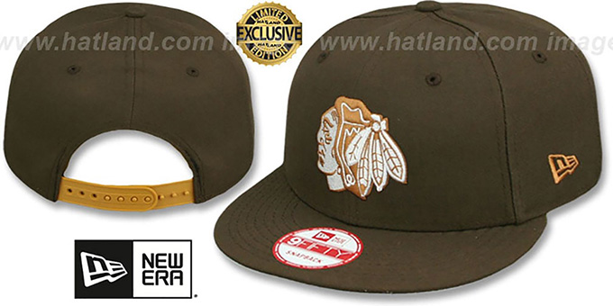 Blackhawks 'TEAM-BASIC SNAPBACK' Brown-Wheat Hat by New Era : pictured without stickers that these products are shipped with