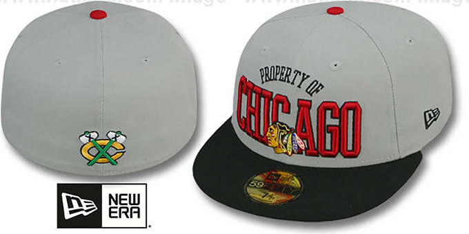 Blackhawks 'TEAM-PRIDE' Grey-Black Fitted Hat by New Era : pictured without stickers that these products are shipped with