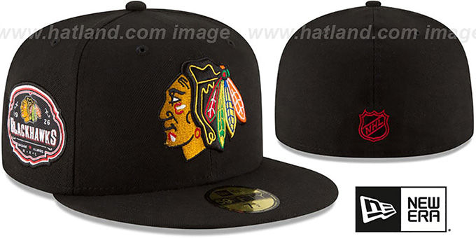 Blackhawks 'TEAM-SUPERB' Black Fitted Hat by New Era : pictured without stickers that these products are shipped with
