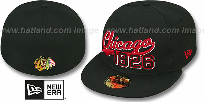 Blackhawks 'THE BEGINNING' Black Fitted Hat by New Era : pictured without stickers that these products are shipped with