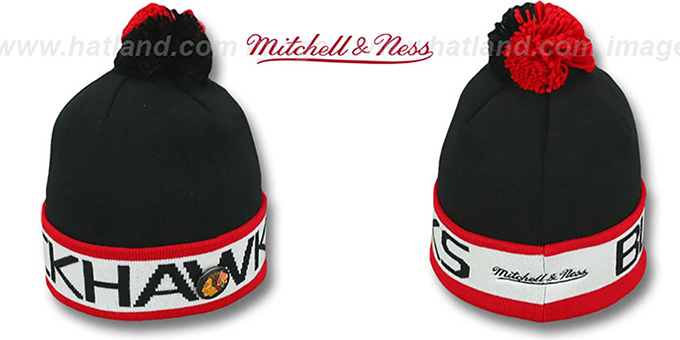 Blackhawks 'THE-BUTTON' Knit Beanie Hat by Michell & Ness : pictured without stickers that these products are shipped with