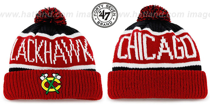 Blackhawks 'THE-CALGARY ALT' Red-Black Knit Beanie Hat by Twins 47 Brand : pictured without stickers that these products are shipped with
