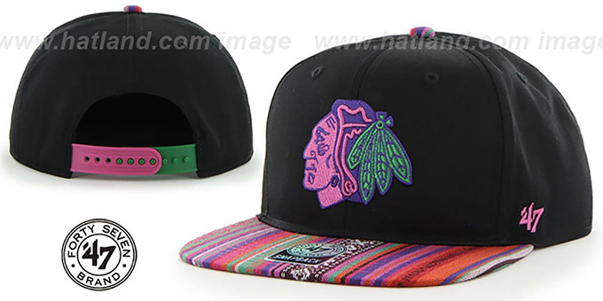 Blackhawks 'THE-DUDE SNAPBACK' Black-Pink Hat by Twins 47 Brand : pictured without stickers that these products are shipped with