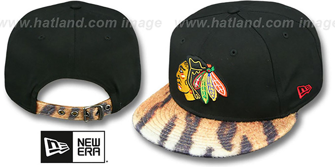 Blackhawks 'TIGER ANIMALISTIC-FUR VIZA STRAPBACK' Hat by New Era : pictured without stickers that these products are shipped with