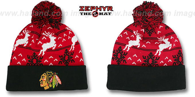 Blackhawks 'UGLY SWEATER' Black-Red Knit Beanie Hat by Zephyr : pictured without stickers that these products are shipped with