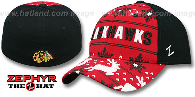 Blackhawks 'UGLY SWEATER FLEX' Black-Red Hat by Zephyr : pictured without stickers that these products are shipped with