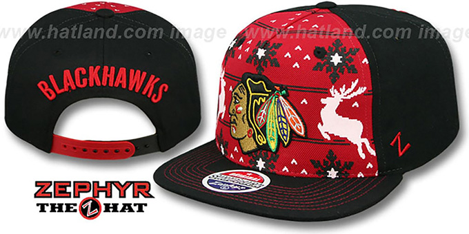 Blackhawks 'UGLY SWEATER SNAPBACK' Black-Red Hat by Zephyr : pictured without stickers that these products are shipped with