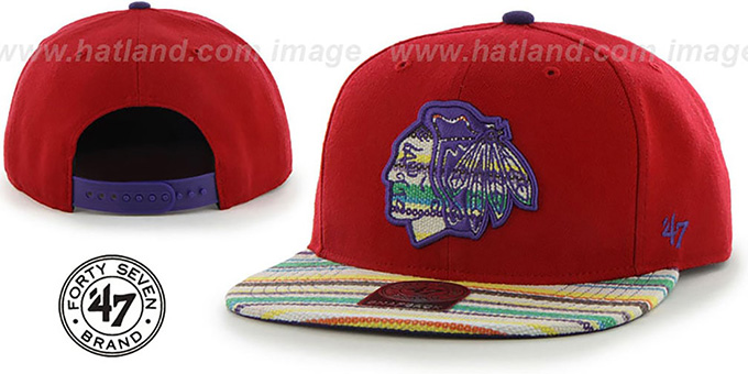 Blackhawks 'WARCHILD SNAPBACK' Red Hat by Twins 47 Brand : pictured without stickers that these products are shipped with