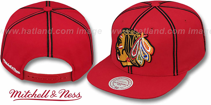 Blackhawks 'XL-LOGO SOUTACHE SNAPBACK' Red Adjustable Hat by Mitchell & Ness : pictured without stickers that these products are shipped with