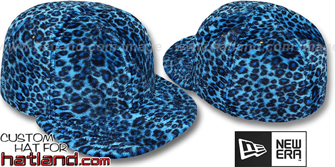 Blank 'CHEETAH PIMPIN-FUR' Blue Fitted Hat by New Era : pictured without stickers that these products are shipped with