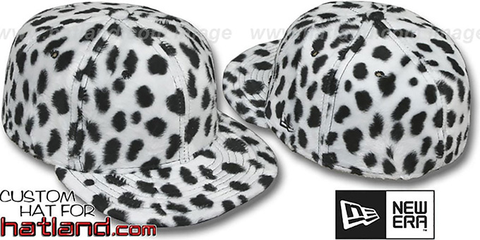 Blank 'DALMATION PIMPIN-FUR' White Fitted Hat by New Era : pictured without stickers that these products are shipped with