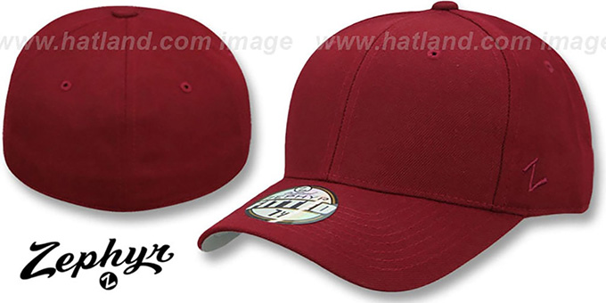 Blank 'DH BURGUNDY' Fitted Hat by Zephyr