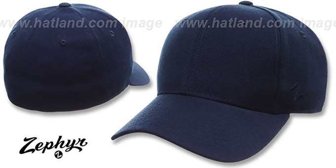 Blank 'DH NAVY' Fitted Hat by Zephyr : pictured without stickers that these products are shipped with