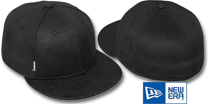 Blank 'DISTRESSED LEATHER' Black Fitted Hat by New Era : pictured without stickers that these products are shipped with