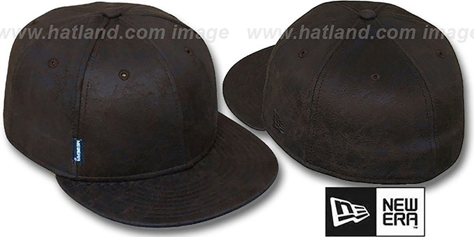 Blank 'DISTRESSED LEATHER' Brown Fitted Hat by New Era : pictured without stickers that these products are shipped with