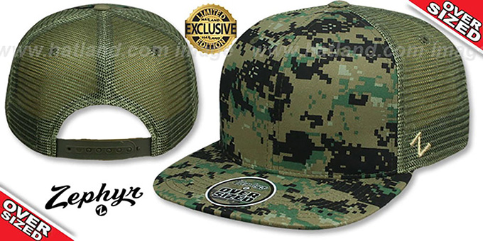 Blank 'OVER-SIZED DIGICAMO MESH-BACK SNAPBACK' Army-Olive Hat by Zephyr