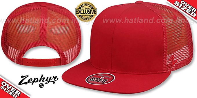 Blank 'OVER-SIZED MESH-BACK SNAPBACK' Red-Red Hat by Zephyr