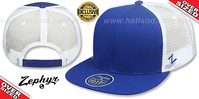Blank 'OVER-SIZED MESH-BACK SNAPBACK' Royal-White Hat by Zephyr