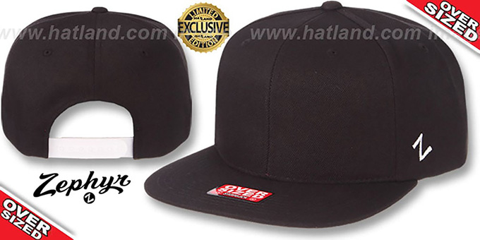 Blank 'OVER-SIZED SNAPBACK' Black Hat by Zephyr : pictured without stickers that these products are shipped with