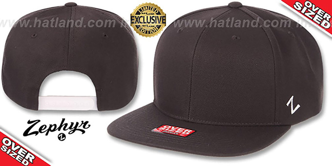 Blank 'OVER-SIZED SNAPBACK' Charcoal Hat by Zephyr