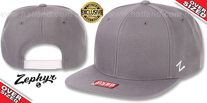 Blank 'OVER-SIZED SNAPBACK' Light Grey Hat by Zephyr : pictured without stickers that these products are shipped with