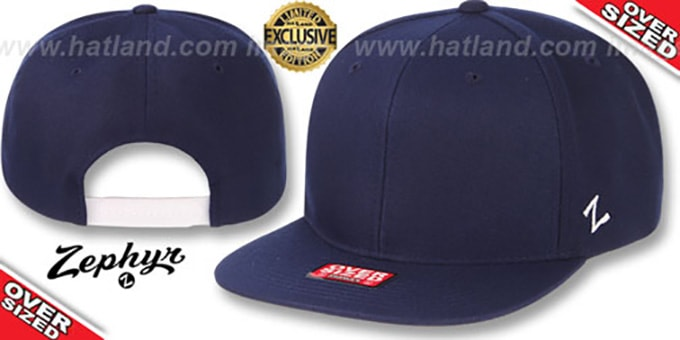 Blank 'OVER-SIZED SNAPBACK' Navy Hat by Zephyr : pictured without stickers that these products are shipped with