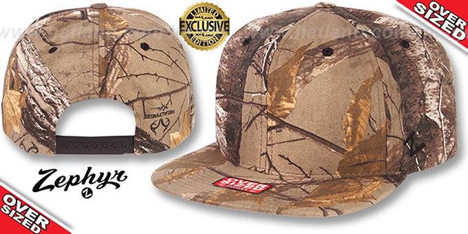 Blank 'OVER-SIZED SNAPBACK' Realtree Hat by Zephyr : pictured without stickers that these products are shipped with