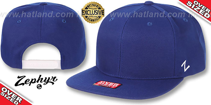 Blank 'OVER-SIZED SNAPBACK' Royal Hat by Zephyr : pictured without stickers that these products are shipped with