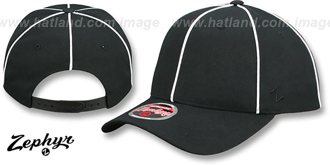Blank 'SNAPBACK' Black-White Piping Hat Zephyr