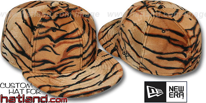 Blank 'TIGER PIMPIN-FUR' Fitted Hat by New Era : pictured without stickers that these products are shipped with