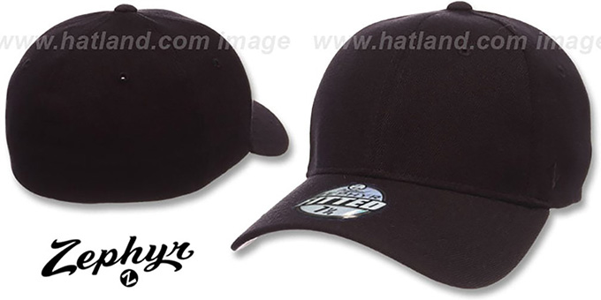 Blank 'Z-FIT BLACK' Hat by Zephyr : pictured without stickers that these products are shipped with