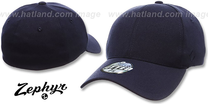 Blank 'Z-FIT NAVY' Hat by Zephyr : pictured without stickers that these products are shipped with